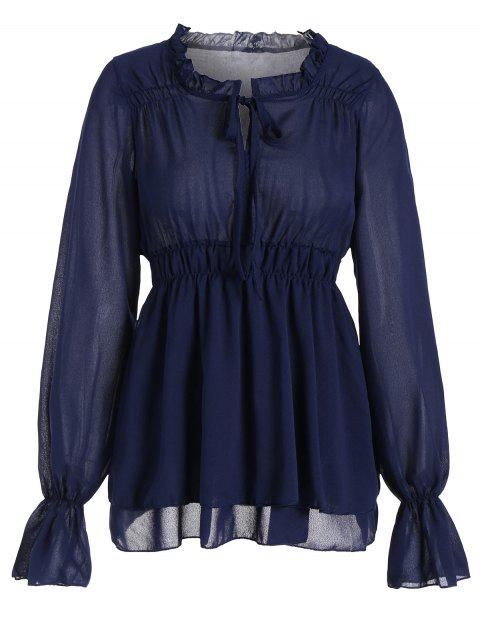 buy Ruffled Neck Flare Sleeve Tiered Blouse - PURPLISH BLUE S Mobile