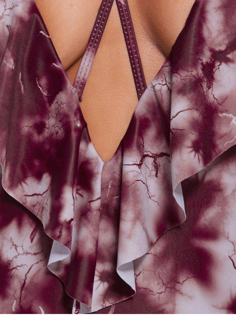 Tie Dye Ruffles Backless Swimsuit - Rouge Foncé S Mobile