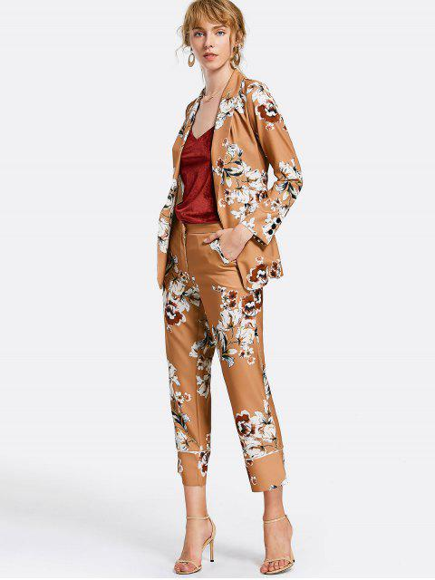 outfit Belted Floral Blazer with Pockets - FLORAL M Mobile