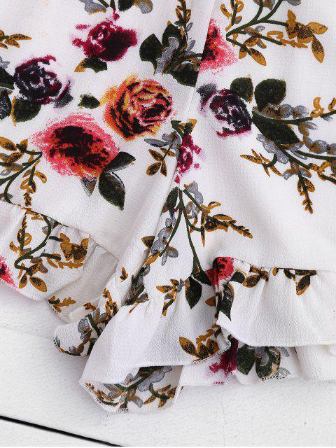 Lace Panel Floral Top et Shorts Set - Floral L Mobile
