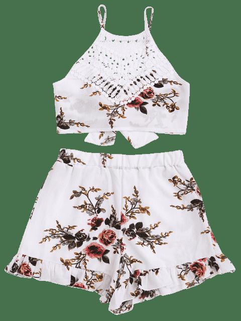 Lace Panel Floral Top et Shorts Set - Floral XL Mobile