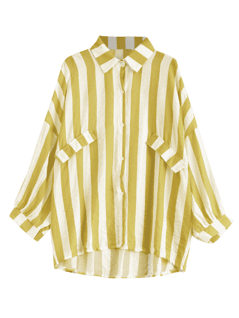 fancy Oversized Button Up Striped Blouse - GINGER ONE SIZE Mobile