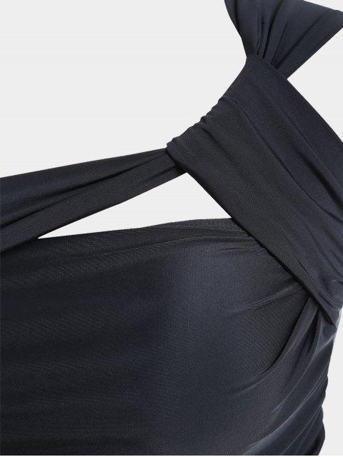 latest One Shoulder Plus Size Tankini Set - BLACK 2XL Mobile