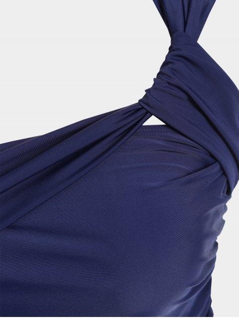 fancy One Shoulder Plus Size Tankini Set - DEEP BLUE XL Mobile
