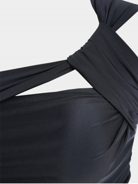sale One Shoulder Plus Size Tankini Set - BLACK 4XL Mobile