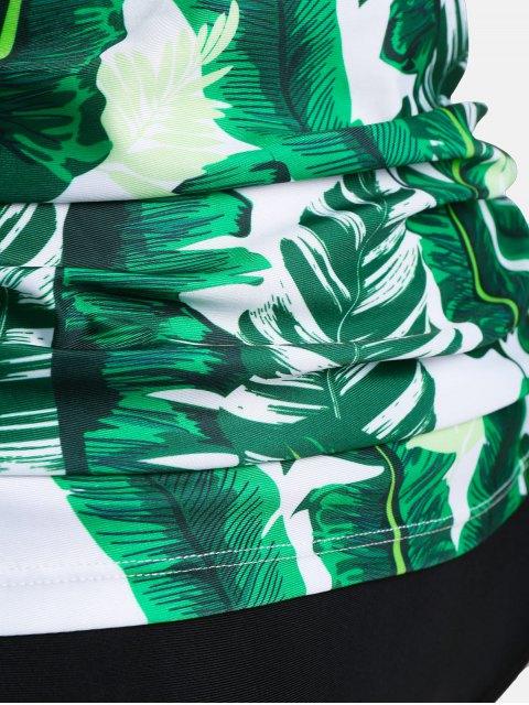 shops Backless Plus Size Palm Leaf Print Tankini - COLORMIX 3XL Mobile
