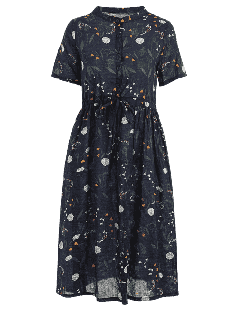 unique Floral Print Drawstring Dress - PURPLISH BLUE 2XL Mobile