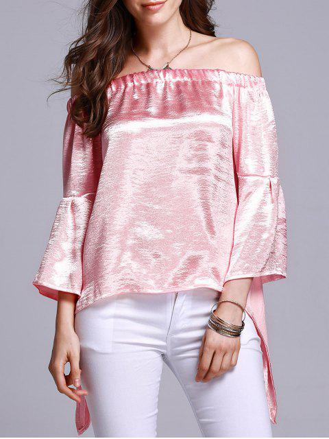 best Off The Shoulder Solid Color T-Shirt - PINK M Mobile