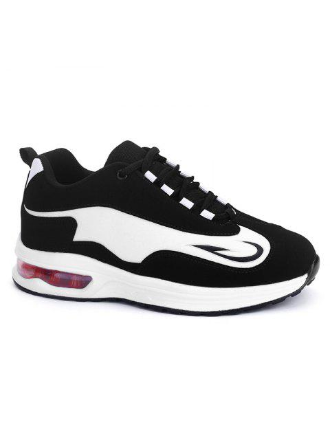 online Air Cushion Breathable Athletic Shoes - WHITE AND BLACK 37 Mobile