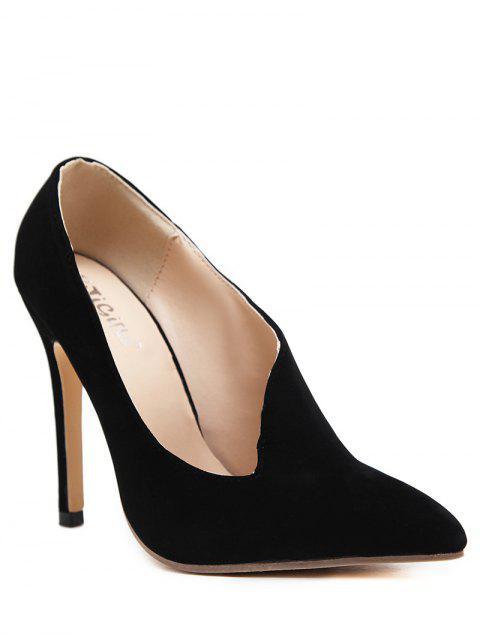 sale Stiletto Heel Pointed Toe V Shape Pumps - BLACK 39 Mobile