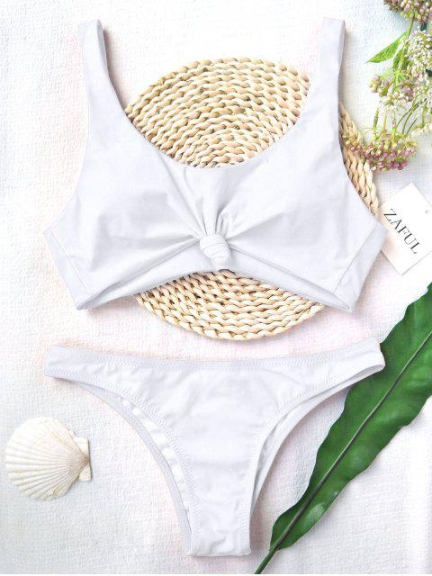 buy Knotted Scoop High Cut Bathing Suit - WHITE L Mobile