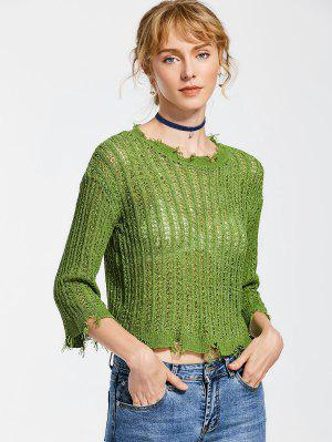 Frayed Hem Pullover Knitted Top - Green