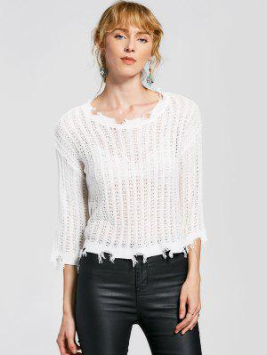 Frayed Hem Pullover Knitted Top - White
