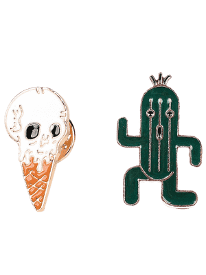 Cactus Skull Ice Cream Brooch Set