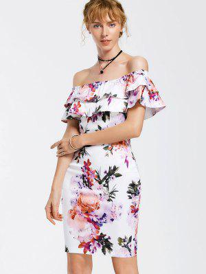 Floral Overlay De Hombro Bodycon Vestido - Floral S