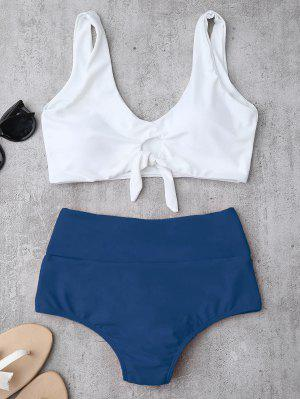 Knotted High Waisted Ruched Bikini Set - Blue L