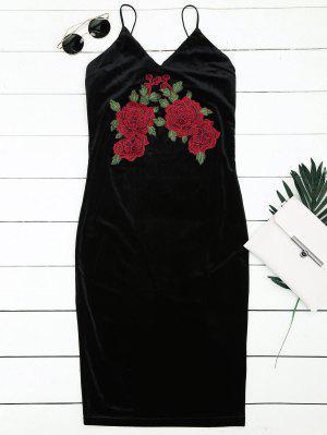 Floral Embroidered Sheath Slip Dress - Black M