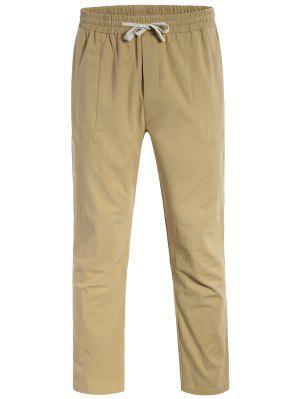 Casual Bolsillos Cordón Pantalones - Caquiclaro 4xl