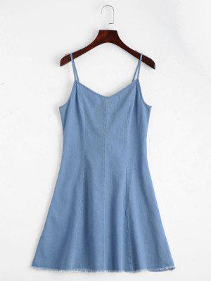 Back Lace Up Cami Denim Dress - Light Blue L
