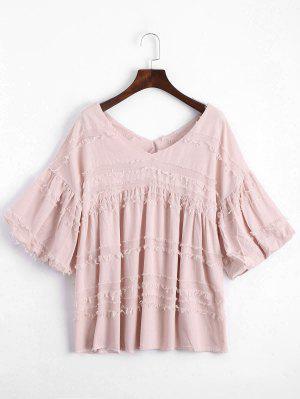 V Neck Lantern Sleeve Plain Blouse - Pink M