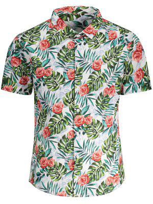 Short Sleeve Monstera Leaf Shirt - Floral L