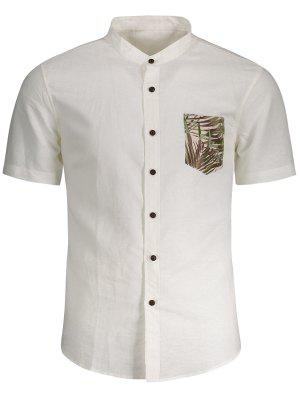 Linen Pocket Leaf Print Shirt