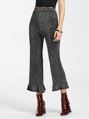 High Waist Ruffle Hem Glitter Pants - Black Grey M