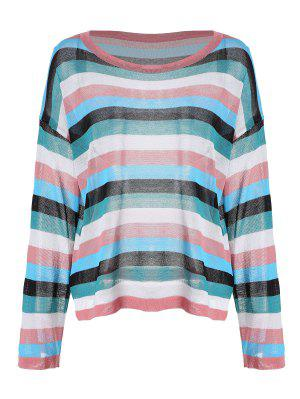 Drop Shoulder Striped Knitted Top - Pink