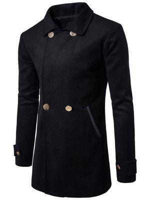 Slot Pocket Turn-down Collar Wool Blend Coat