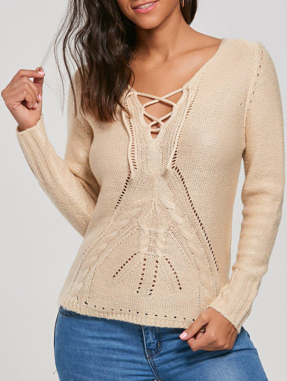 Lace Up Hollow Out Sweater 220356601
