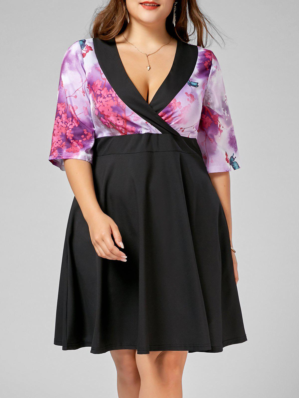 Robe de maroquinerie Floral A Line Plus Size Homecoming