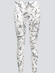 Active Abstract Fit Leggings - White M