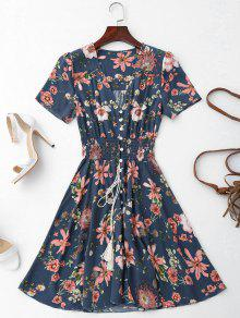 Smocked Floral Button Up A Line Dress - Purplish Blue S
