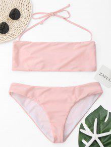 Halter Bandeau Bikini Set - Pink L