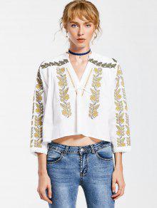 V Neck Embroidered Tunic Blouse - White L