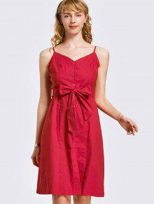 Botón De Mini Vestido Con Cinturón - Rojo M