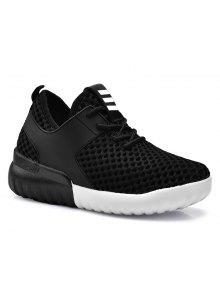 Faux Leather Insert Mesh Breathable Athletic Shoes - Black 38