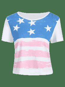 De La Camiseta Impresi L Redondo La 233;rica Corta 243;n De Cuello Bandera De Blanco Am De Manga 6Xr7aq6