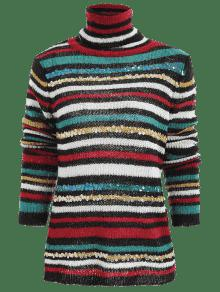 Sequins Striped Turtleneck Sweater BLACK: Sweaters ONE SIZE | ZAFUL