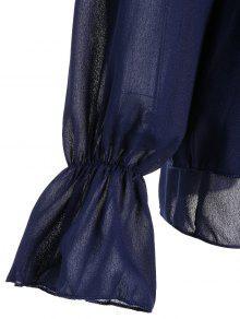 250;reo Con Cuello Purp M Cuello Volante Azul Blusa Con qvx477