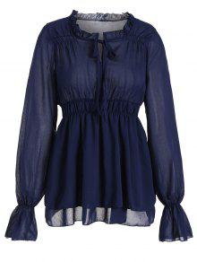 Ruffled Neck Flare Sleeve Tiered Blouse - Purplish Blue S