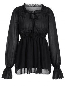 Ruffled Neck Flare Sleeve Tiered Blouse - Black S