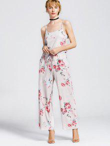Drawstring Pockets Floral Cami Jumpsuit - Light Khaki 2xl