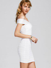 فستان الضمادة بلا اكتاف محبوك - أبيض