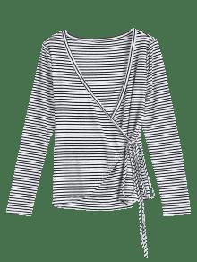 Larga Con Rayas Blanco Cord Camiseta Manga A Hundiendo Cuello 243;n M De De La Za0wTx