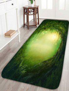 إضاءة حفرة شجرة طباعة سجادة حمام سكيدبروف - أخضر W24 بوصة * L71 بوصة