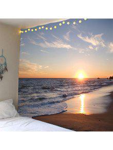 ساحل البحر الغروب ماء الجدار نسيج - الأصفر W79 بوصة * L59 بوصة