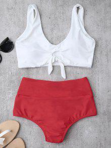 Juego De Bikini Con Cuello Alto Con Cintura Alta - Rojo L