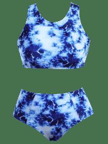 c6e5d42f7f 17% OFF  2019 Racerback High Waisted Plus Size Bikini Set In BLUE ...