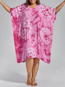 Batwing Sleeve Plus Size Cover Up Dress - Pink